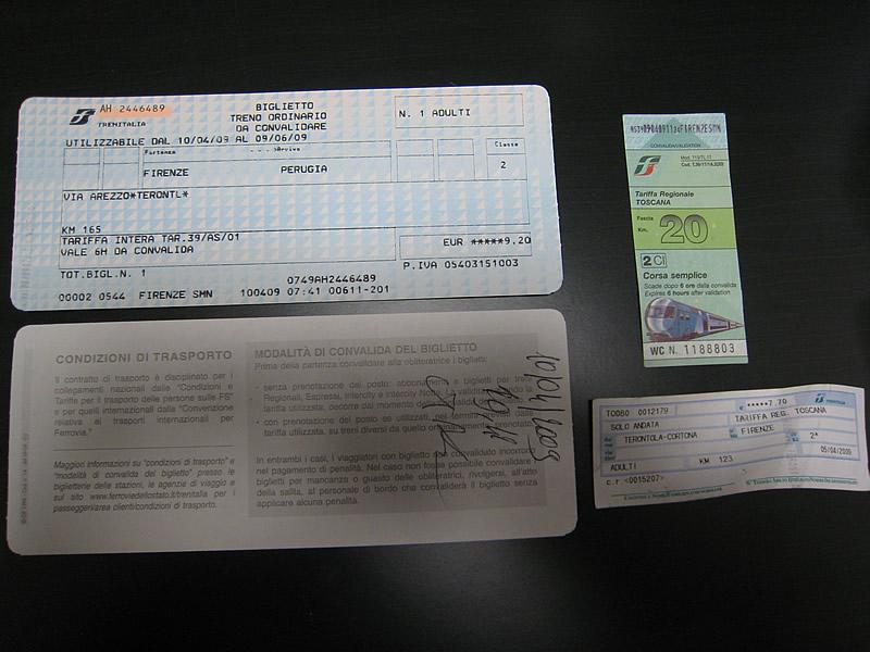 イタリア国鉄の切符いろいろ