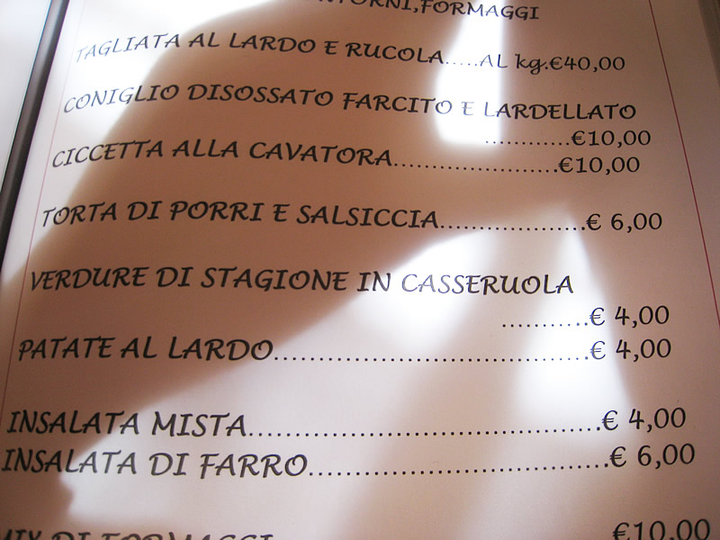 il menu di locandapuana colonnnata