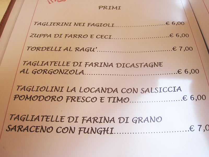 il menu di locandapuana colonnata